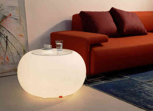 Moree Bubble Indoor Leuchttisch mit Glasplatte - Hocker