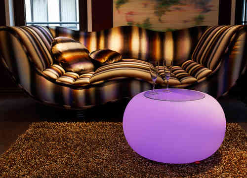 Moree Bubble Indoor LED Leuchttisch mit Glasplatte - Hocker