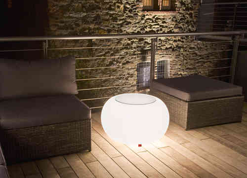 Moree Bubble Outdoor Leuchttisch inkl. Glasplatte - Hocker